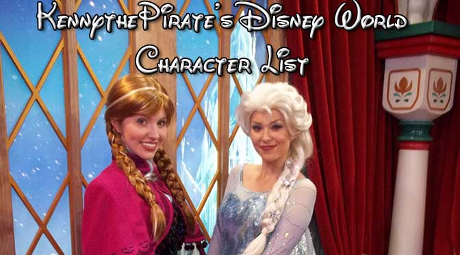 disney world character list, disney world character schedule, anna and elsa, disney world character locations