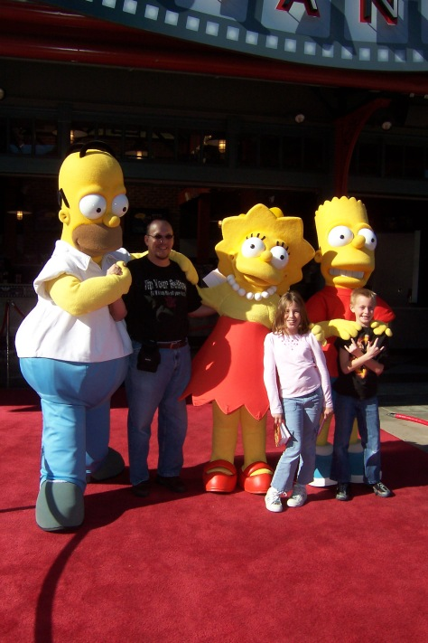 Homer Bart and Lisa Simpson Universal Studios Hollywood 2007