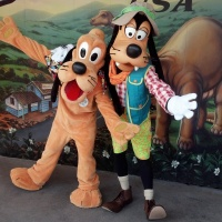 Pluto and Goofy at Dinoland in Animal Kingdom