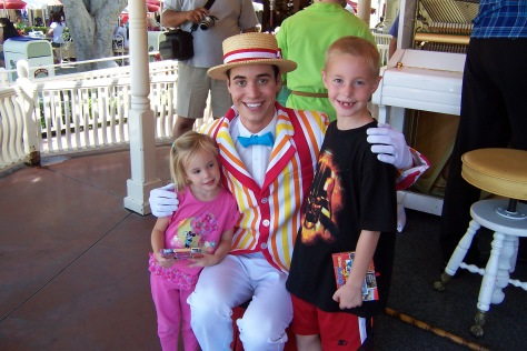 Bert in Disneyland 2007.  He played musical chairs with the kids.