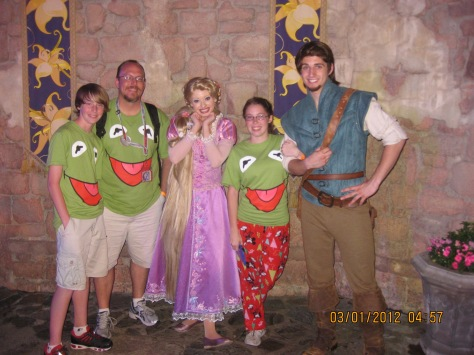 Flynn Rider and Rapunzel at Magic Kingdom Leap Day 2012.  3 1/2 hour wait!