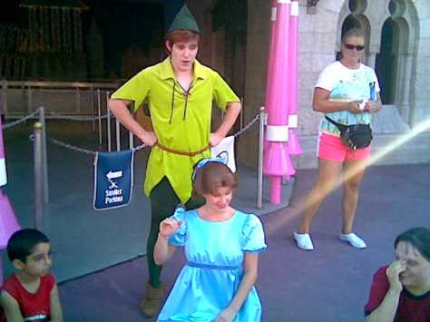 Peter Pan and Wendy playing with kids during EMH in 2007