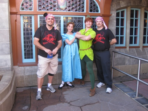Wendy and Peter Pan with a couple of adventuresome pirates in 2010