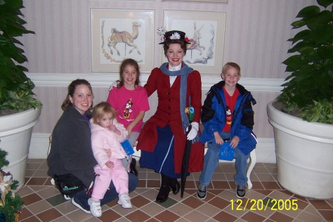 Mary Poppins in her Nanny Poppins winter wear at 1900 Park Fare 2005
