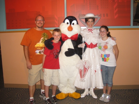 Mr. Penguin with Mary Poppins at Character Palooza 2010