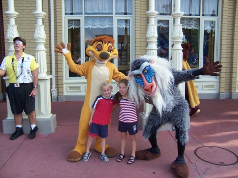 Timon with Rafiki at the Magic Kingdom in Town Square 2004