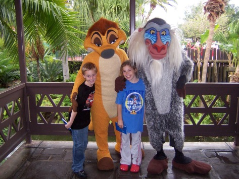 Timon with Rafiki in 2006 at Magic Kingdom's Adventureland Verandah