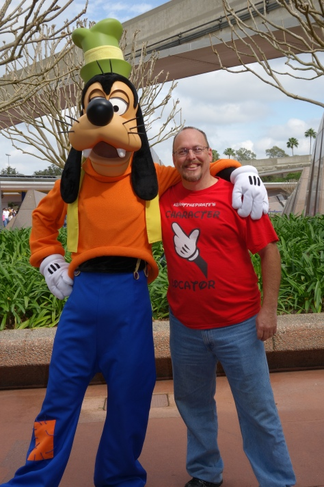 Goofy at Epcot entrance 2013