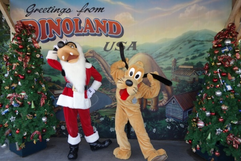 Pluto and Goofy at Dinoland in Animal Kingdom 2012