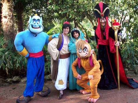Disneyland Paris, Characters, Aladdin, Jasmine, Jafar, Genie, Abut