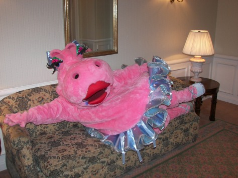 The Disneyland Hotel is the only place where you have a rare chance of meeting Hyacinth Hippo