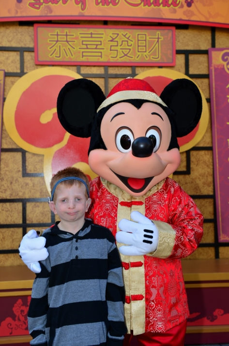 Mickey Mouse in his Chinese New Year Celebration costume.