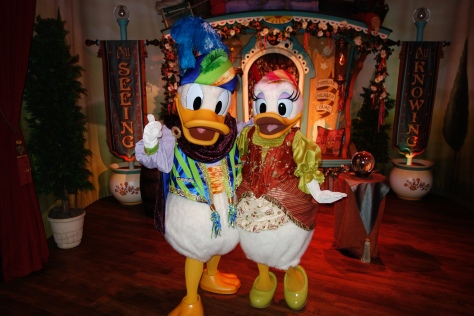 A rare shot of Daisy and Donald together inside Pete's Silly Sideshow.  I entered Goofy/Donald's side.  There was only one family in the tent, so Donald was escorting a family from his meet to Minnie.  He had to stop to give Daisy a little smooch and I crossed the rope (jumped it) and hustled over to request this rare photo.  They work together thematically very well.