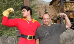 Gaston was so intimidated by my muscles, that he had to look away in embarassment!