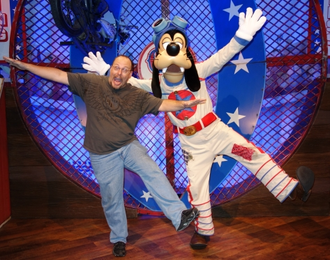 Goofy teaches me how to become a stunt performer.  We spent some time discussing all the injuries I had while doing crazy things on my bike and motorcycle as a kid.  Goofy looks about as good with the motorcycle as I was.