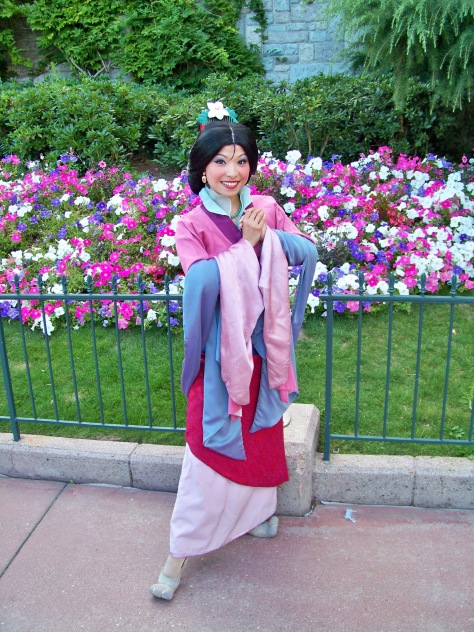 Mulan can be found in the Stars'n'Cars Parade at the Walt Disney Studios almost every day. She also does Meet'n'Greets almost every day at the Walt Disney Studios or Disneyland Park.