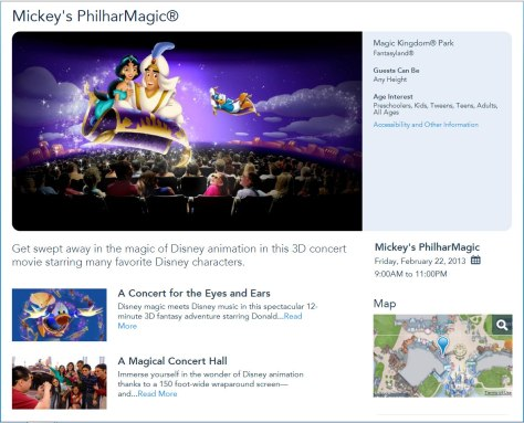 My Disney Experience website map