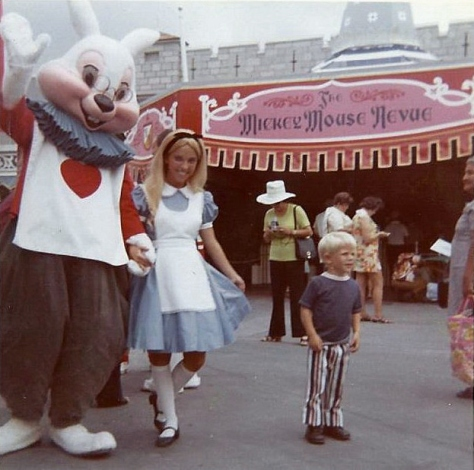 Alice and White Rabbit in Fantasyland circa 1971.  Mickey Mouse Revue is now Mickey's Philharmagic!  (Rich Muller)