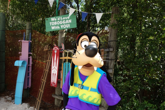 Meeting characters at Blizzard Beach and Typhoon Lagoon.  Complete with schedules!