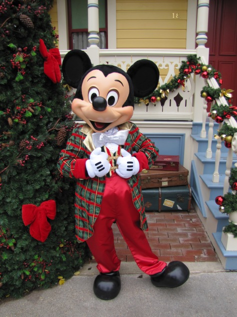 Mickey wearing his Christmas outfit during the 2011/2012 Christmas Season at the Disneyland Park.