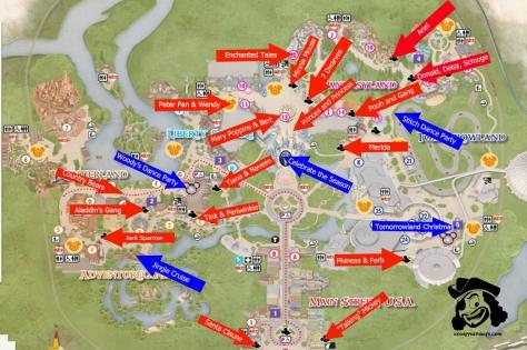Walt Disney World, Magic Kingdom, Mickey's Very Merry Christmas Party, Characters, Map