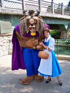 Belle and the Beast walking around Fantasyland. Sadly the Beast doesn't come out anymore.