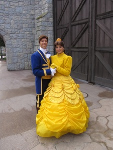 A rare site! Belle together with Prince Adam walking around Fantasyland. While Belle does do Meet'n'Greets Prince Adam is a rare site in the Park.