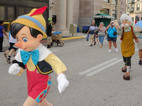 Pinocchio was running ahead, while Gepetto tried to avoid a heart attack