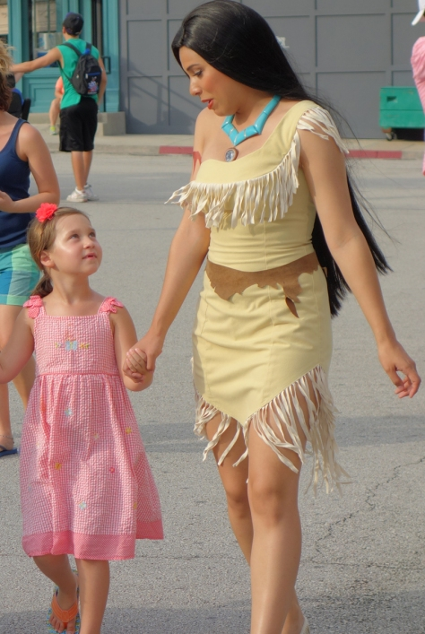 A great moment.  Pocahontas walks away with a little girl.