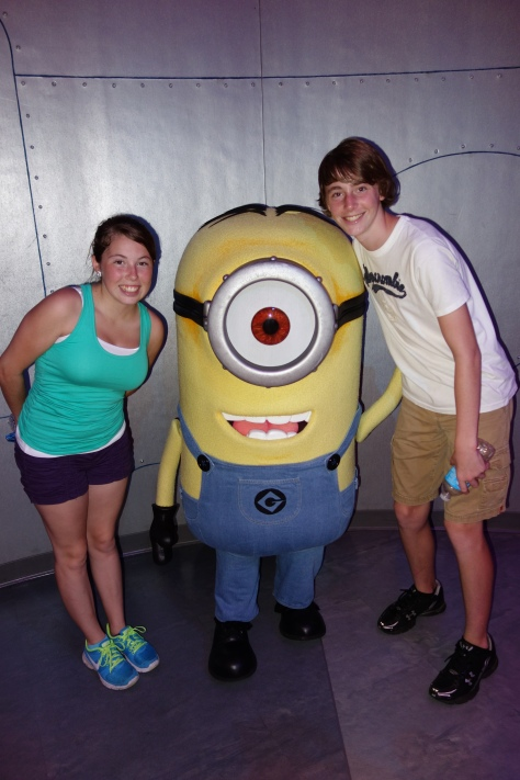 Minion Stuart at Minion Mayhem June 2013.  My daughter found a character that she is too tall to play!