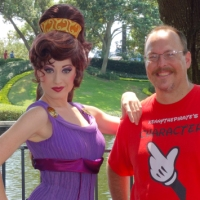 Birthday wish comes true:  Megara at Epcot's International Gateway