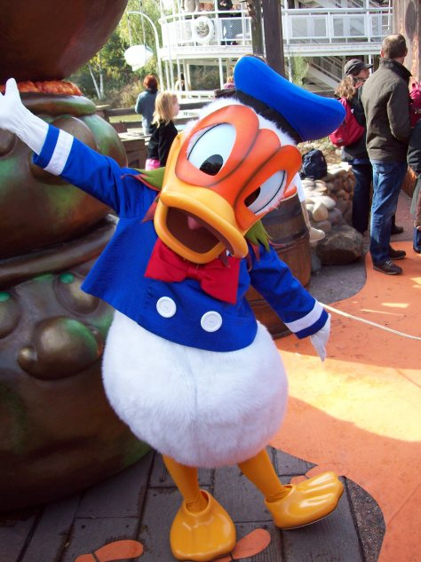 In 2008 Donald was meeting guests near Phanton Manor; he got in the Halloween mood by wearing this Halloween Pumpkin mask.