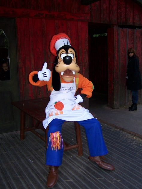 During the Halloween season of 2007 Goofy had a small show in Frontierland featuring breakdancers. He wore this Halloween Cook outfit during this show.
