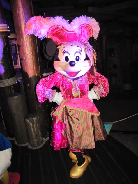 During the Mickey's Not So Scary Halloween Party of 2011 Minnie was meeting guests wearing her Pirate outfit. A year later this outfit was modified and used again during a special Halloween version of the Character Express on October 31st.