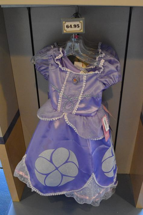 Sofia's dress finally arrived at Walt Disney World recently.  I was formerly only available at the Disneystore.com site.  It costs $64.95