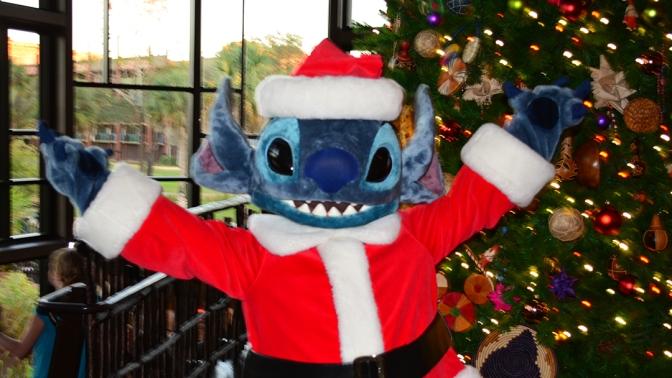 Animal Kingdom Lodge Kidani Christmas Characters Santa Goofy and Santa Stitch and Decor