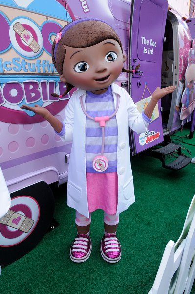 Doc McStuffins as she appeared for her mobile tour.