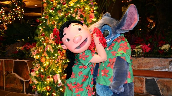 Polynesian Resort Christmas Characters and Christmas Decor