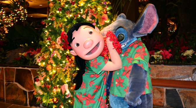 Polynesian Resort Christmas Characters and Christmas Decor