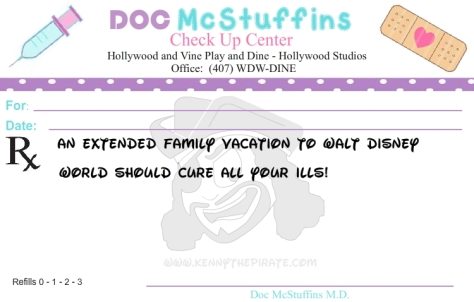 Doc McStuffins excuse from school or work, kenny the pirate