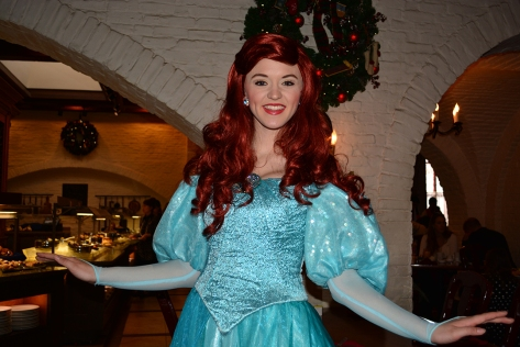 Walt Disney World, Epcot, Akershus Royal Banquet Hall, Princess Character Meal, Belle in Christmas Dress, Ariel