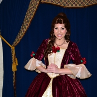 Princess Dining at Akershus Royal Banquet Hall in Norway at Epcot including Belle's Christmas dress