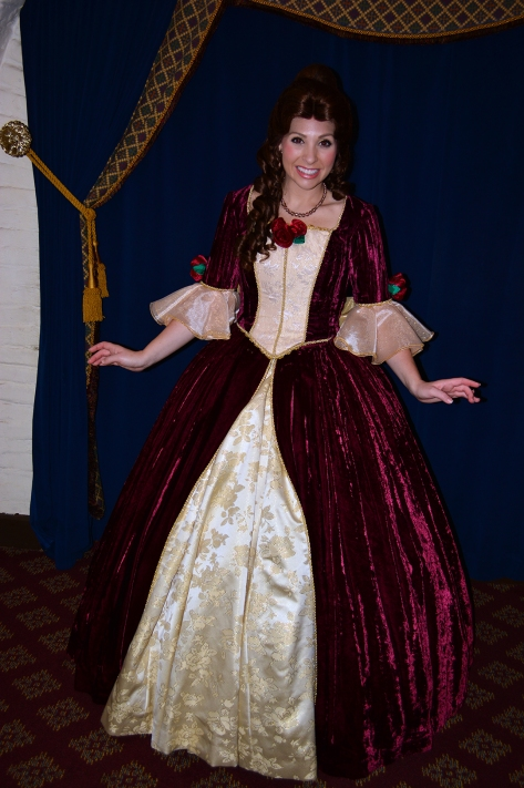 Walt Disney World, Epcot, Akershus Royal Banquet Hall, Princess Character Meal, Belle in Christmas Dress