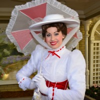 Mary Poppins in winter Jolly Holiday costume at Town Square in the Magic Kingdom