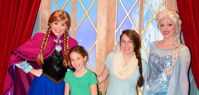 We met Anna and Elsa at park opening today at Epcot's Norway pavilion and a ride on Test Track