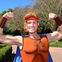 Meeting Hercules at Epcot's Imagination Pavilion in Walt Disney World