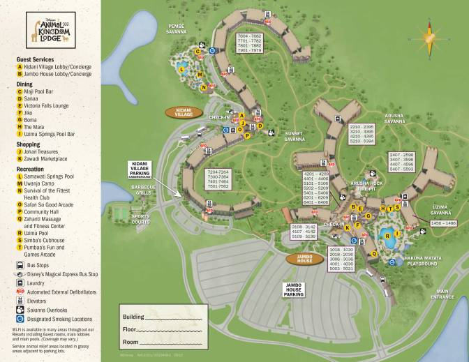 Animal Kingdom Lodge Kidani Village Resort Maps