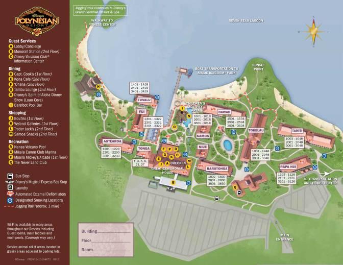 Polynesian Resort Map