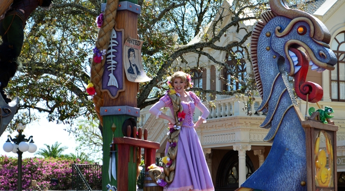 Festival of Fantasy parade:  Rapunzel and Flynn Rider Float