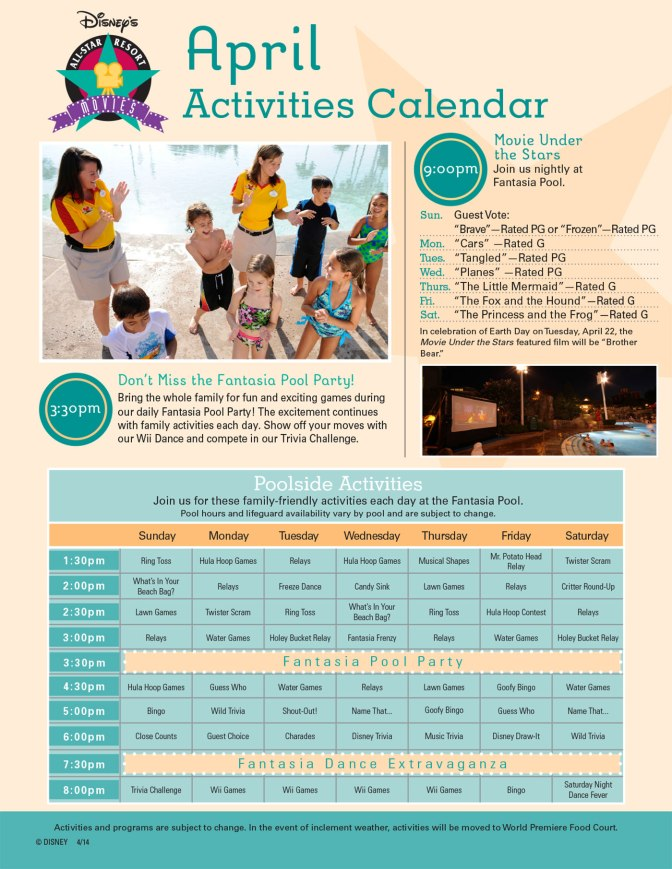 All Star Movies Resort Recreation Activity Guide